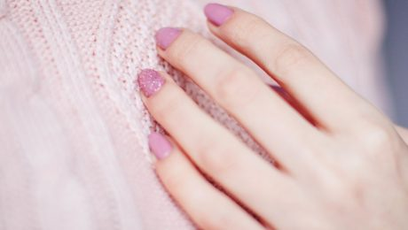 pink painted fingernails