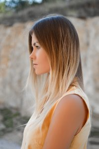 stock photo of a woman with a balayage