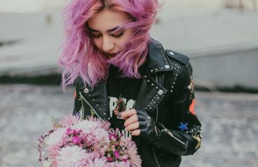 pink hair leather jacket punk chick