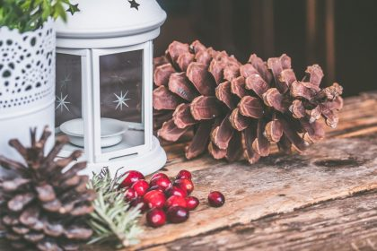 winter setting with candle lantern and pine cones.