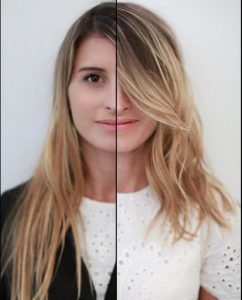 Long haircut without layers versus with layers on the same girl.
