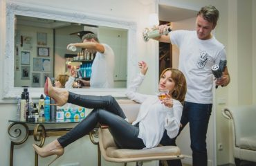 hair salon with stylist and client
